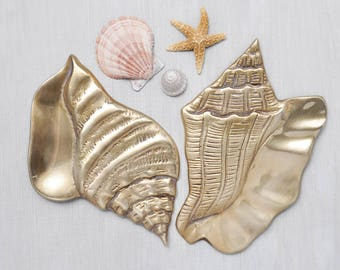 2 Vintage Brass Conch Shells - shiny metal seashell wall plaque hangings - nautical beach cottage decor