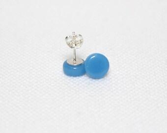 Sky Blue Glass Stud Earrings - Sky Blue Glass Sterling Silver Stud Earrings - Gift for her - Gift for Mum - UK Seller - Free UK Postage