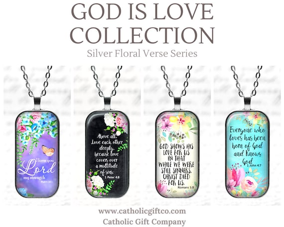 NEW Bible Verse Pendants with chain - 18 or 24 inches - Four Beautiful Choices - GOD Is LOVE Collection