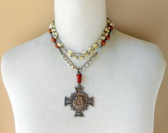Religious Cross Necklace, Assemblage Jewelry, Medal, Vintage Repurposed, Upcycled, Recycled, Mother of Pearl Rosary, Long Wrap, Eclectic