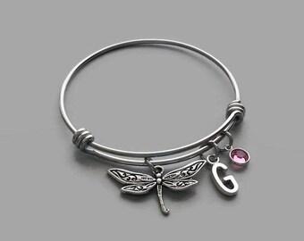 Dragonfly Charm Bracelet, Dragonfly Bracelet, Dragonfly Jewelry, Initial Bracelet, Birthstone Bracelet, Personalized, Custom Jewelry