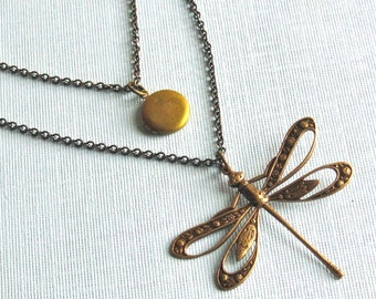 Layered Dragonfly Locket Necklace - Double Strand Necklace, Small Locket Necklace, Brass Jewelry, Dragonfly Jewelry, Nature Jewelry