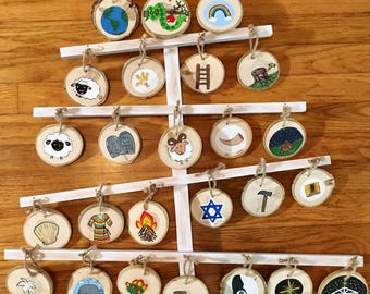 Hand painted Jesse tree-ornaments and tree included