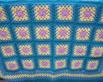 Dizzy Lizzy Lantana Heirloom Quality Handmade Afghan in Rich Greens and Yellows FREE SHIPPING
