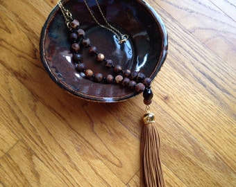 Brown and Black Beaded Tassel Necklace