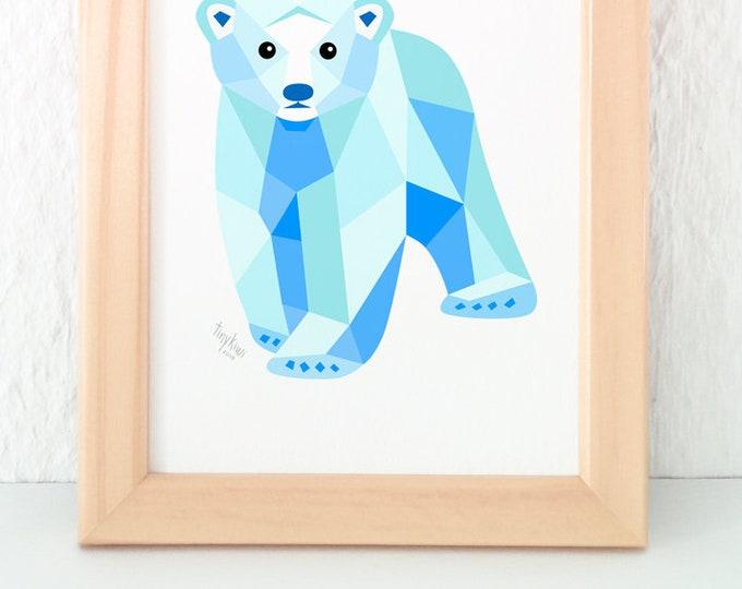Polar bear baby nursery print, Baby polar bear art, Polar bear illustration, Polar bear nursery art, Baby nursery art, Geometric polar bear