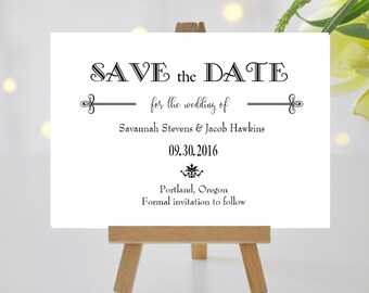 Elegant Save the Date Cards Black and White | Simple Modern Save the Date Card Black Tie | Printed Wedding Save the Date Card | Gatsby Style