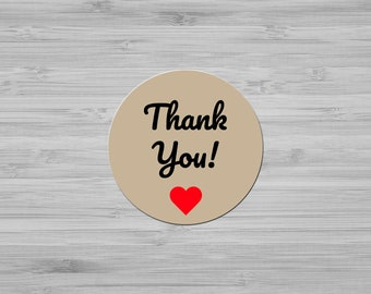 Thank You Stickers - Kraft Thank You Circle Labels - Wedding, Bridal, Baby Shower Labels - Stickers To Seal Envelopes - Wedding Favor Label
