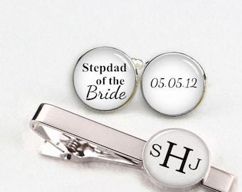 Stepdad Of The Bride Cuff Links, Custom Personalized Wedding Cufflinks, Round Or Square Cufflinks & Tie Clip, Custom Name Date Photo Initial
