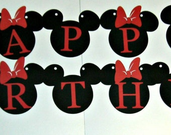 Mickey Minnie Banner / Mickey Mouse / Disney / Mickey and Minnie Happy Birthday Banner (528B)