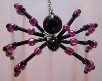 Black and Pink Beaded Spider