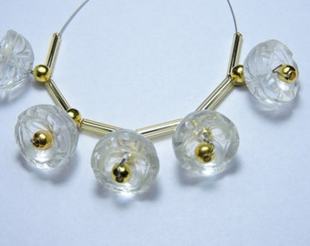 5 Pieces Extremely Beautiful Natural Rock Crystal Quartz Hand Carved Jhumkas. Bell Shaped Beads Size 13X13 MM