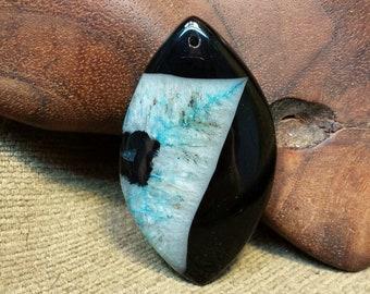 SALE #HonorSacrifice ~ NEW ~ Wizard's Sky Blue Flame Black Druzy Agate Olivary Marquise Horse Eye