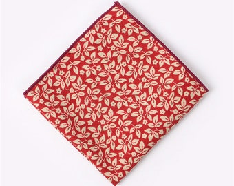 Red Floral Pocket Square  | cotton handkerchief |  gift for groom | mens handkerchief | mens pocket square | wedding accessories | gifts