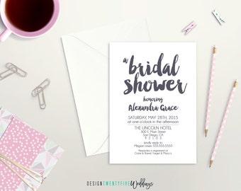 Simple Bridal Shower Invitation // The Alexandra Collection // Modern // Brush Calligraphy // PRINTABLE - DIY Print