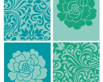 Colorful Flower and  leaves patterns wall art - set of 4