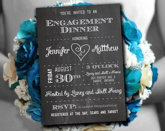 Engagement Dinner Invitation Template - Chalkboard Invitation Template - White Chalkboard Couples Shower Invitation - Stag & Doe Party