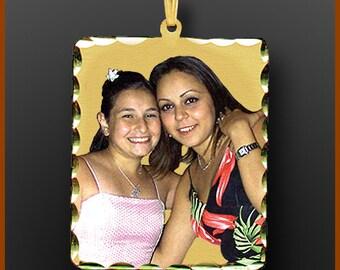 """14kt Gold Personalized Photo Pendant """"Rectangle Shape"""" Extra Large"""