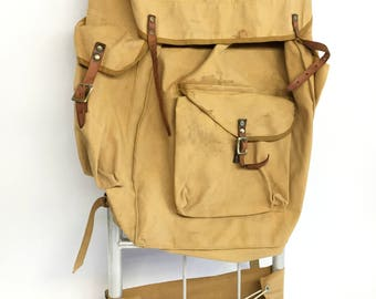 Antique Military Backpack, Canvas Backpack with Frame, Khaki Canvas Backpack, Hiking Gear,  Hunting Gifts, Hiking Backpack, Camping Gear