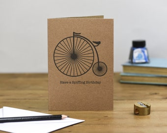 Penny Farthing Have a Spiffing Birthday Card brown kraft