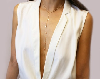 Dangle Disc Choker Lariat Necklace // Long Lariat // Body Chain