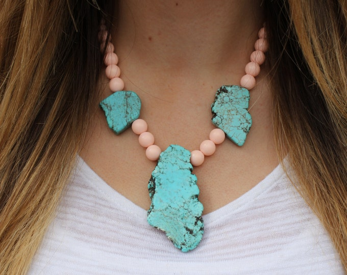 The Chelsea Statement Necklace, Turquoise and Pink beaded necklace.
