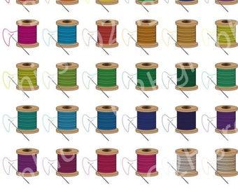 NOV 20% SALE Needle and Thread Clipart Clip Art, Vector Clipart, Digital Scrapbooking, Graphic Artwork, PNG & Jpeg, Digital Download, Commer