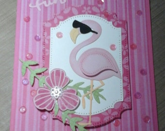 Handmade all occasion Flamingo card