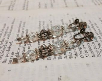 Gothic Earrings Dangle Drop Glass Clip On Earrings