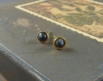 Rue. Tiny Gold and Black Turquoise Stud Earrings. modern earrings. minimal earrings. delicate earrings. everyday earrings. stone earrings.