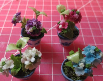 choice of 5 delicate beautiful realistic verbena Fimo flowers in blue china pots