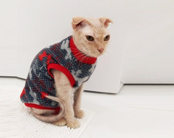 Deer. Fleece pajama. Sphynx cat clothes. Cat suit. Kitty sweater. Clothing for cats. Hairless cat. Cat apparel. Cat dress.