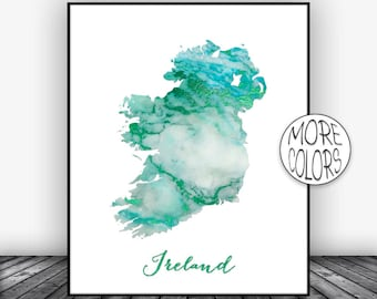 Ireland Print Watercolor Print Ireland Map Art Map Painting Map Artwork Country Art Office Decor  ArtPrintsZoe