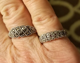 Vintage Sterling silver marcasite ring, Right one. Size 5.5.