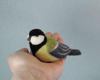 Needle Felted Great Tit, Handmade Bird, Needle Felted Bird, Parus Major, Birds Home Decor- READY TO SHIP