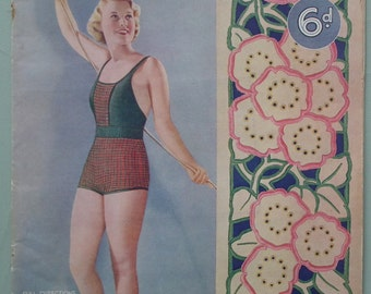 Vintage 1930s Knitting Sewing Crochet Magazine The Needlewoman 1936 166 knitting patterns 30s women's swim suit swimsuit bathing costume