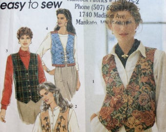 Misses Vest Sewing Pattern - Vest Sewing Pattern - Simplicity 9279 - New - Uncut - Size 14 - 16 - 18 - 20