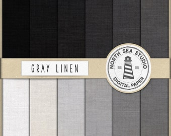 GRAY LINEN, Scrapbook Papers, Shades Grey Linen Digital Paper, Linen Backgrounds, Canvas Texture In Black And White, BUY5FOR8