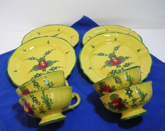 Yellow Floral Italian Pottery, European Country, Cups And Plates