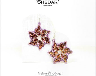Bead pattern beaded earrings Shedar with Paisley Duo beads, fire polished, seed beads, O beads