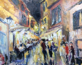 Original Oil Painting of Rome at Night, Colorful Night Scene of Rome Street with Cafés, Living Room Wall Décor, Bedroom Wall Décor, Gift
