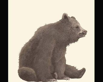 Happy brown bear - Archive quality giclee print from pencil drawing - Limited edition of 25, signed by artist