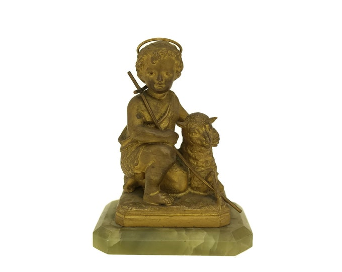 Antique Saint John the Baptist Figurine. French Catholic Religious Art Statue with Lamb of God. Christian Gifts and Home Decor.