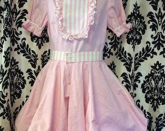 50's Bubblegum Pink Candy Striped Dress