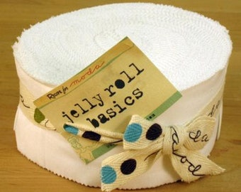 Jelly Roll Bella Solids by Moda  White  40 pieces
