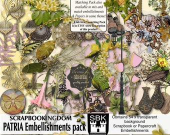 Digital Scrapbooking Embellishments 54 Embies in PATRIA Pack  Matching Papers also available in store