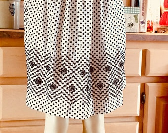 Vintage Black & White Polka Dot Half Skirt Apron 1960's With Hand Stitching