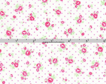 Pink Small Roses Fabric, Floral Quilt Fabric, Lecien Flower Sugar Paisley 31426 20, Pink & White Shabby Floral Fabric, Cotton