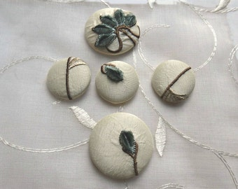 Designer Sample Ivory Covered Buttons, Embroidered Fabric Buttons, Blue Beige Ivory Embroidered Covered Buttons