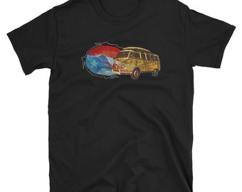 Puerto Rico T-shirt flag and surf bus with wave